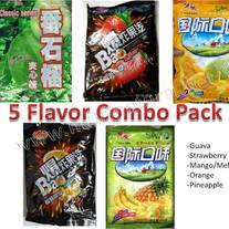 Dakeyi Chinese Candy Combo Pak 5 bags-1 of each flavor (Guava, Pineapple/Banana, Strawberry, Orange & Mango/Melon)