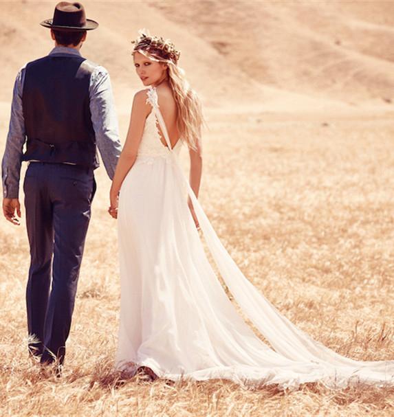 Ivory chiffon boho country wedding dress hellodress online store ivory chiffon boho country wedding dress junglespirit Images