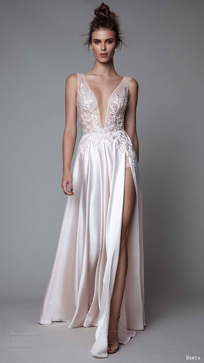 Lace Prom Dress,White Prom Gown,Slit Prom Gowns,Elegant Evening ...
