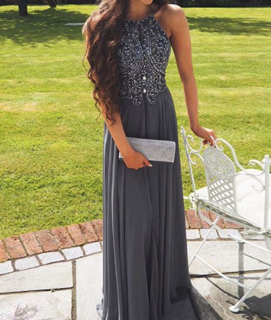 Hot Selling Halter Gray Backless Long Prom Dress with Beading Top ...