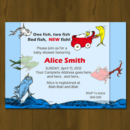 Dr Seuss One Fish Two Fish Printed Baby Shower Invitations Dr