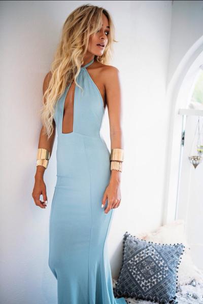 blue halter prom dress,deep V-neck party dress,formal evening dress ...