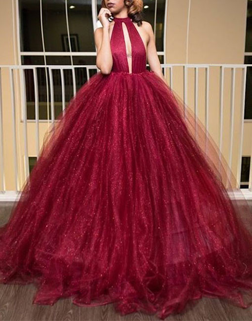 Unique A-Line High Neck Backless Burgundy Ball Gown Long Prom Dress ...