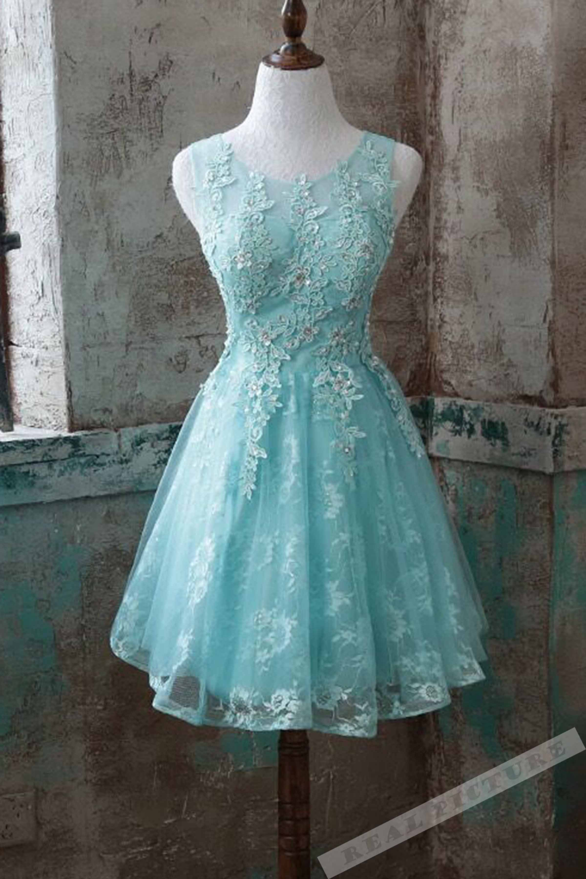 Cute light blue tulle lace applique see-through short prom dresses ...
