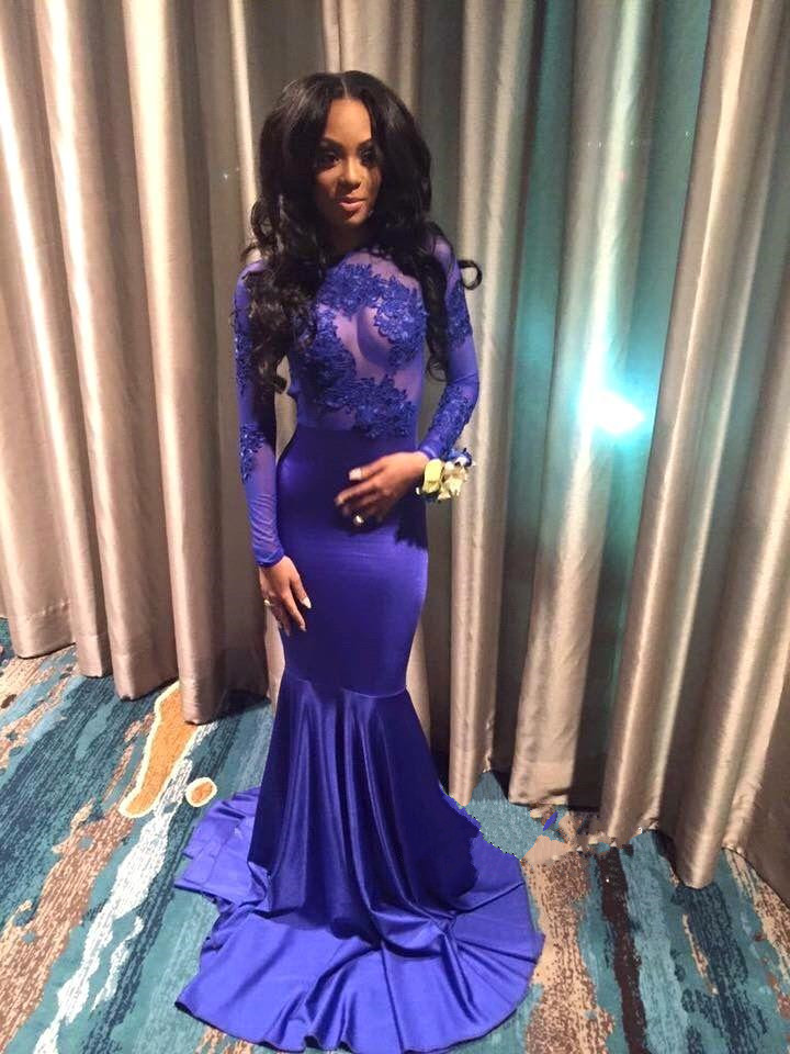 Lace Blue Mermaid Prom Dress