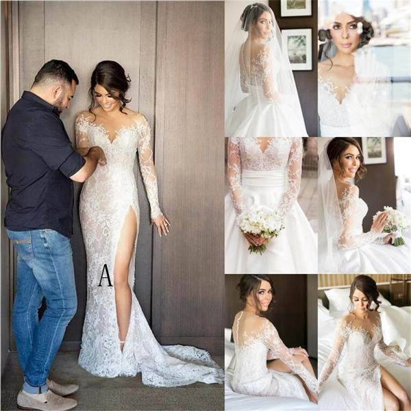 2017 New Full Lace Split Wedding Dresses with Detachable Satin Skirt ...