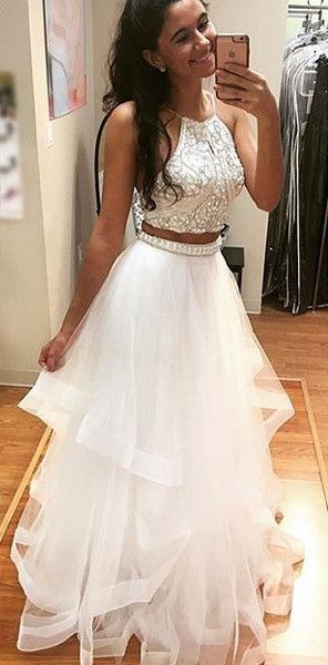 Two Pieces Prom Dresses,Sparkle Prom Dress,Off-shoulder Prom Dresses ...