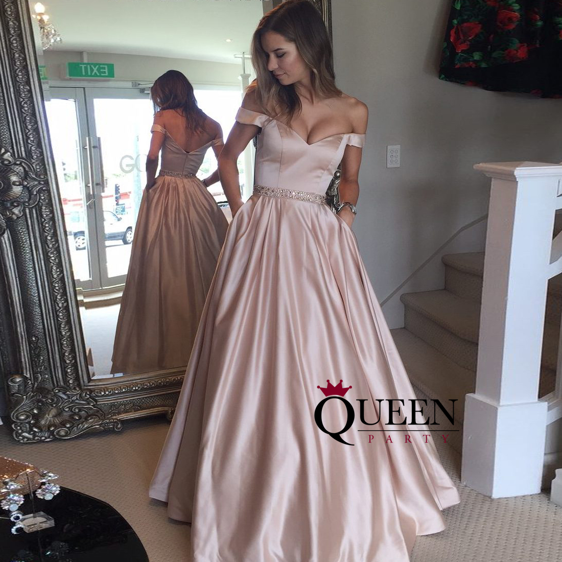 Champagne Satin Off-the-shoulder Embellished Waistline Ball Gown ...