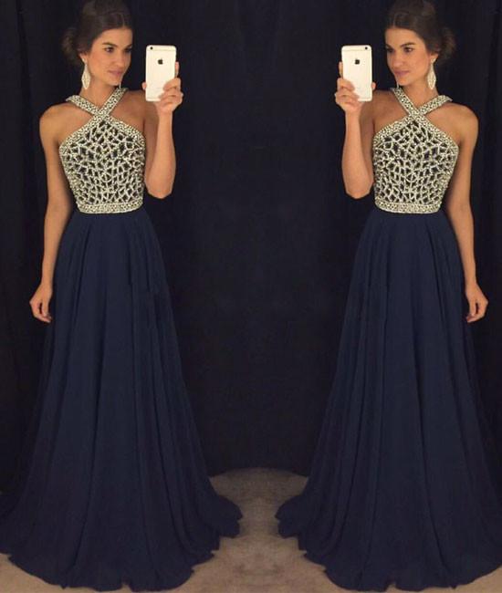 Navy blue beaded long prom dress for teens, dark blue formal dress ...