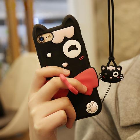 Cute Cartoon Bow Kitty Cat Iphone7 Case Korean Kawaii ...