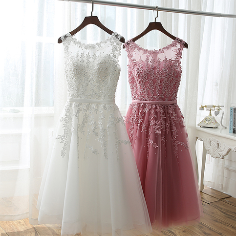 Little Cute | Cute white+red lace short prom dress,A-line round neck ...