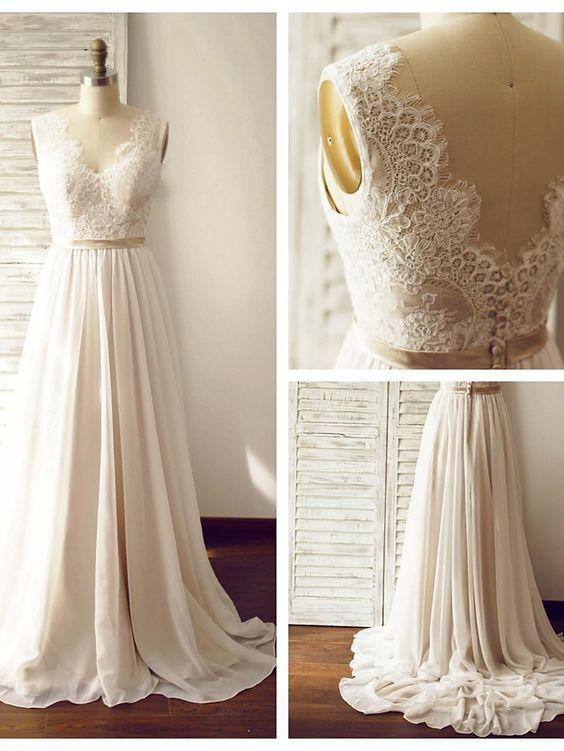 Discount A line V-back French Lace Wedding Dress · Sanct Sophia ...