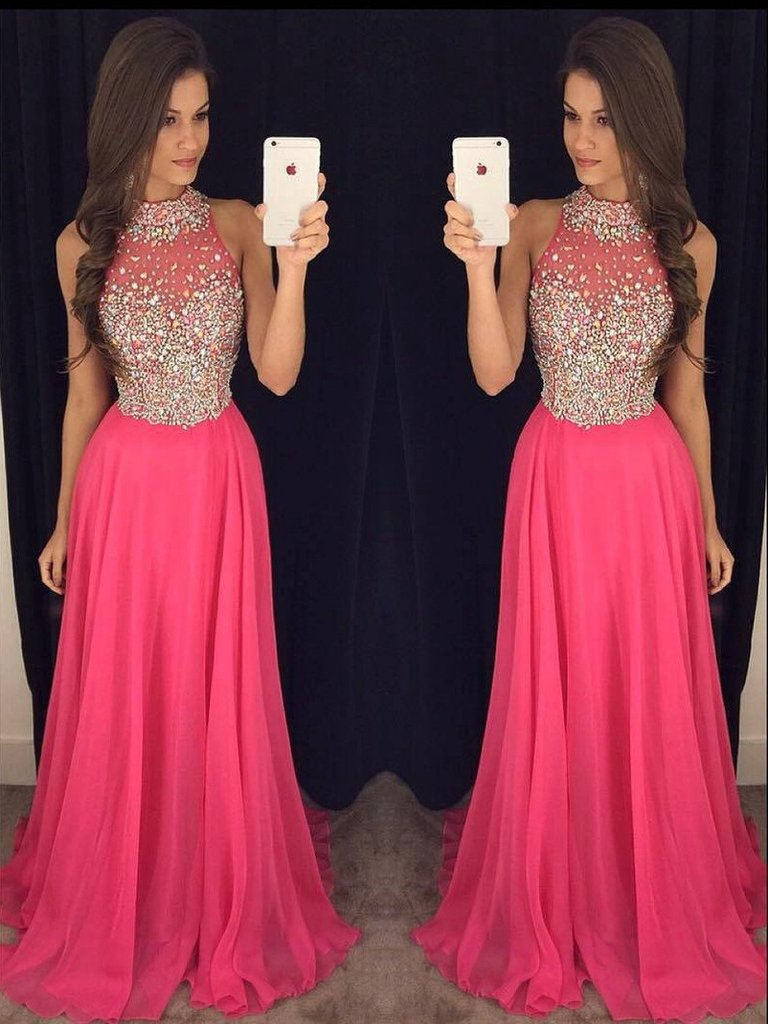 Hot Pink Prom Dress with Top Beading, Prom Dresses,Graduation Party ...