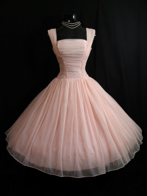 50s Vintage Pink Short Chiffon Homecoming Dress Party
