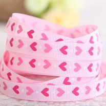 Pink Hearts Grosgrain Ribbon