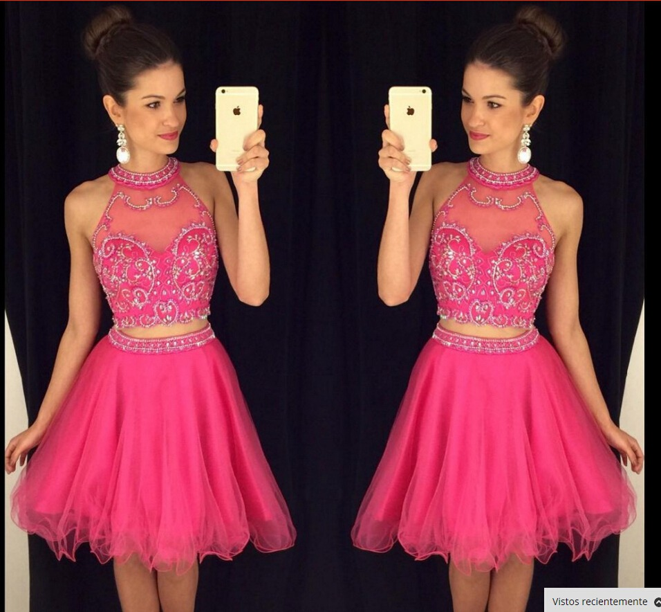 Two Pieces Hot Pink Homecoming Dress,Short Prom Dress,Graduation ...