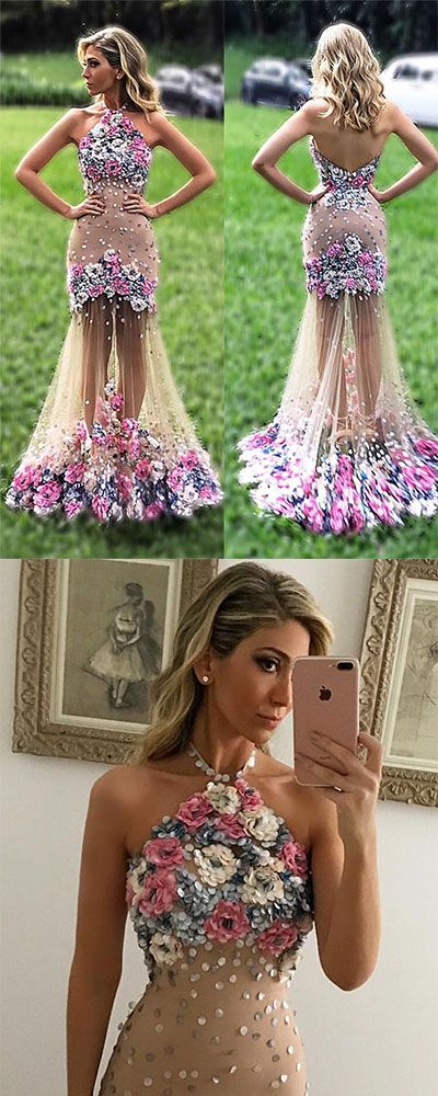 Unique tulle applique flower long prom dress, formal dress, evening ...