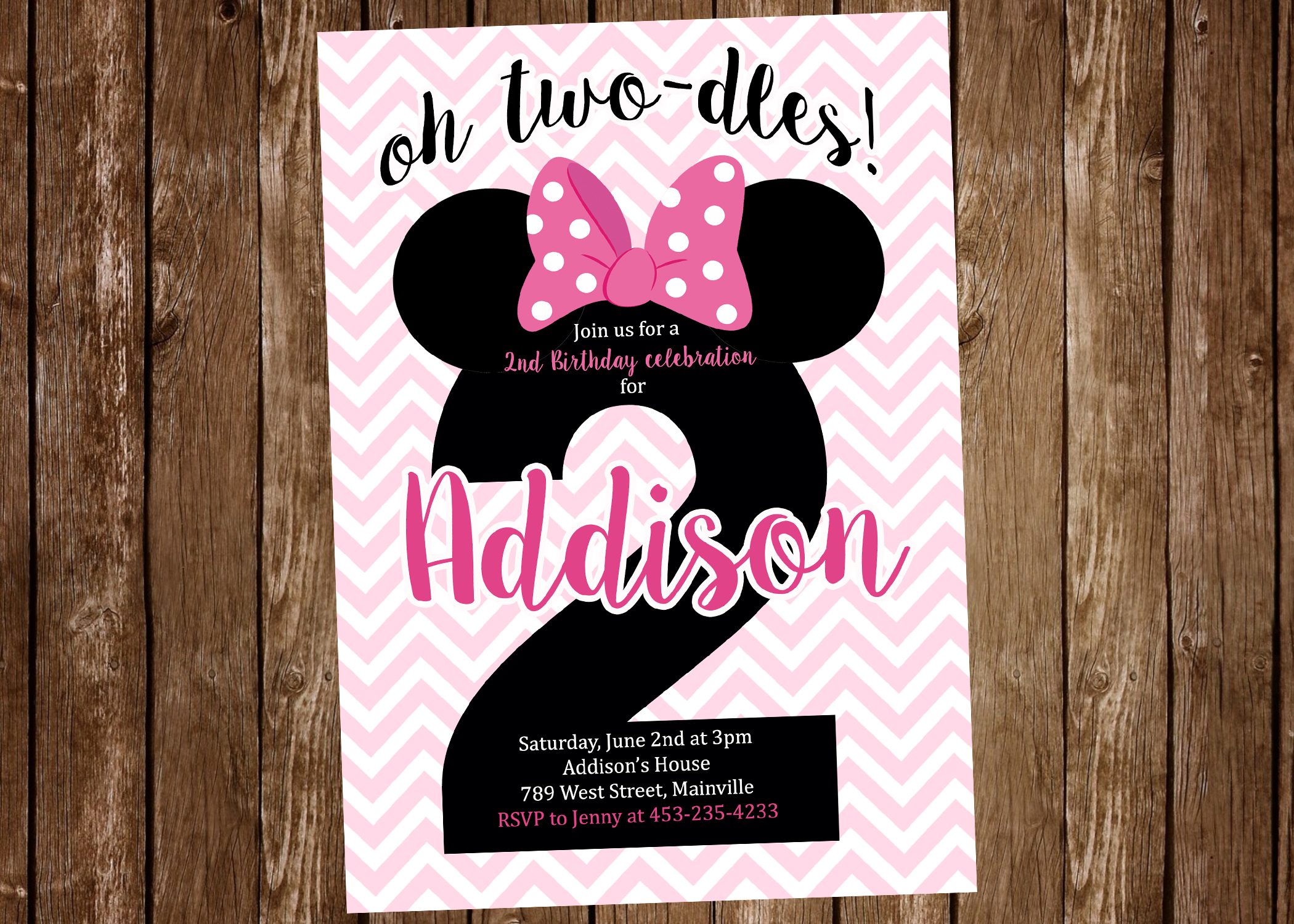 Minnie Mouse 2nd Birthday Two Odles Party Invitation