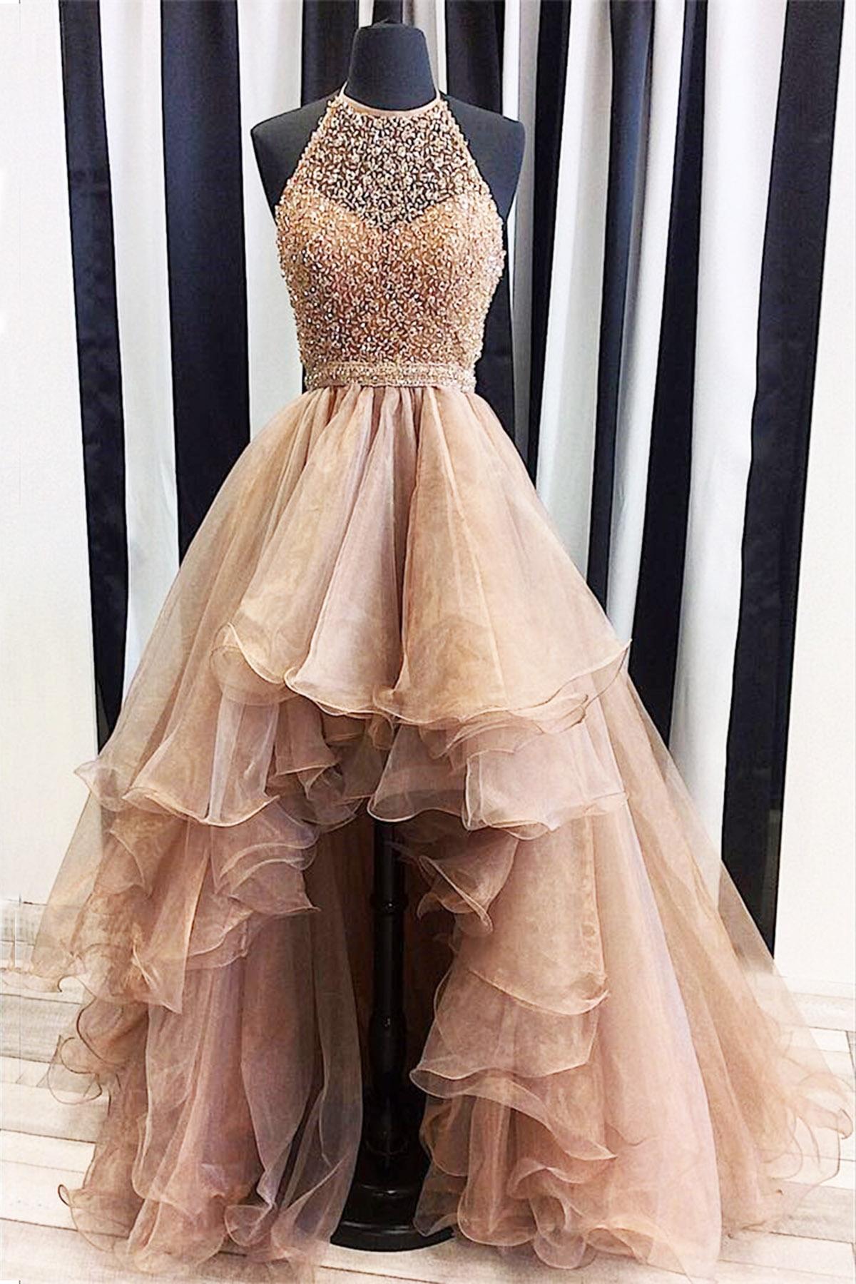Sky Blue Satin Halter Neck Long Fashion Prom Dress - Promfy