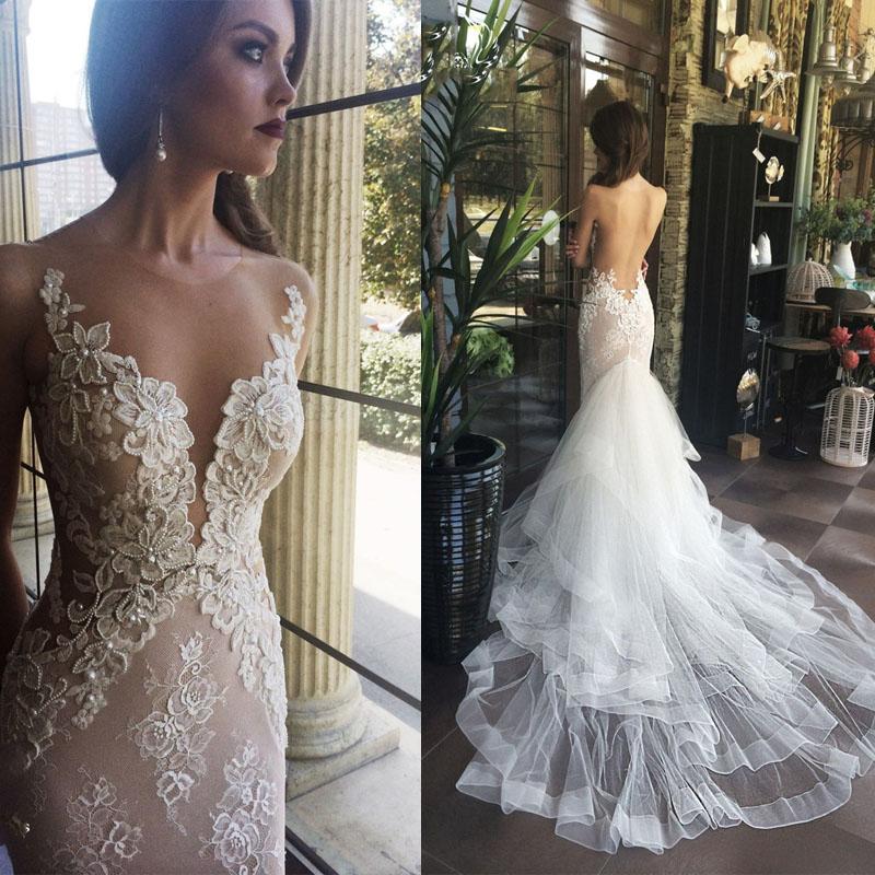 F213 Luxurious White Mermaid Long Weddding Dress,Backless Chapel ...