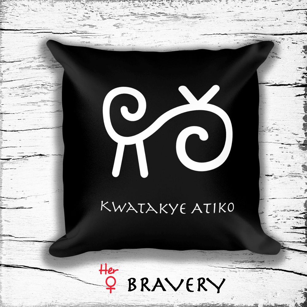 Square Pillow With Woman Empowerment Symbols Symbol Of Bravery