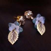 Antiqued Gold Blue Rose Studs