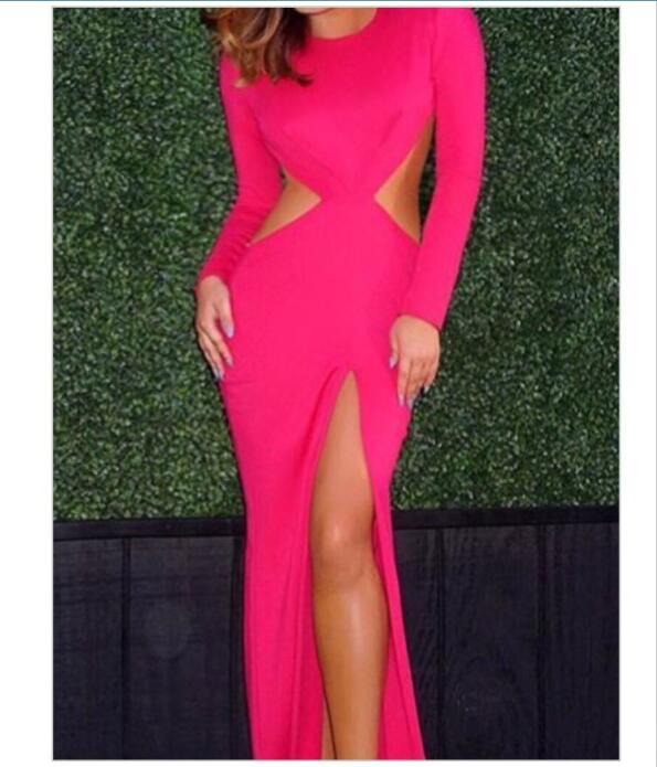 Hot Pink Mermaid Prom Dresses Crew Neck Long Sleeve Cutout Side Slit ...