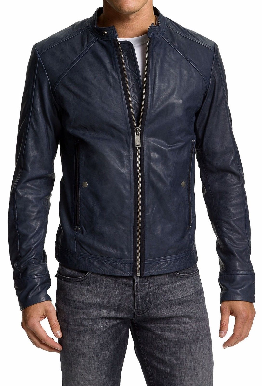 Men Navy Blue Biker Jacket Mens Leather Jacket Blue Leather Jackets For Men