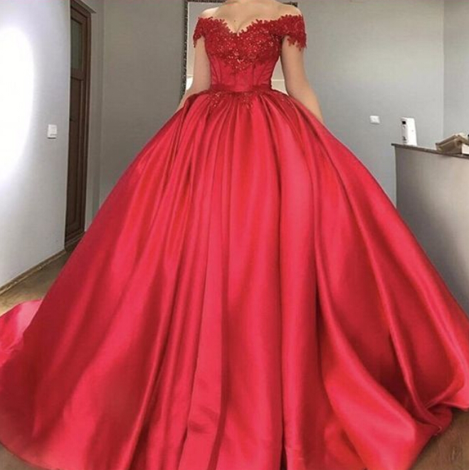 Off The Shoulder Red Princess Ball Gown Prom Dress, Bride Gown With ...