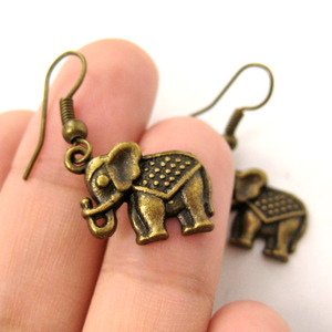 Small Decorative Elephant Animal Charm Dangle Earrings in Bronze