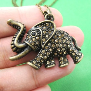 Detailed Elephant Animal Pendant Necklace in Bronze with Rhinestones