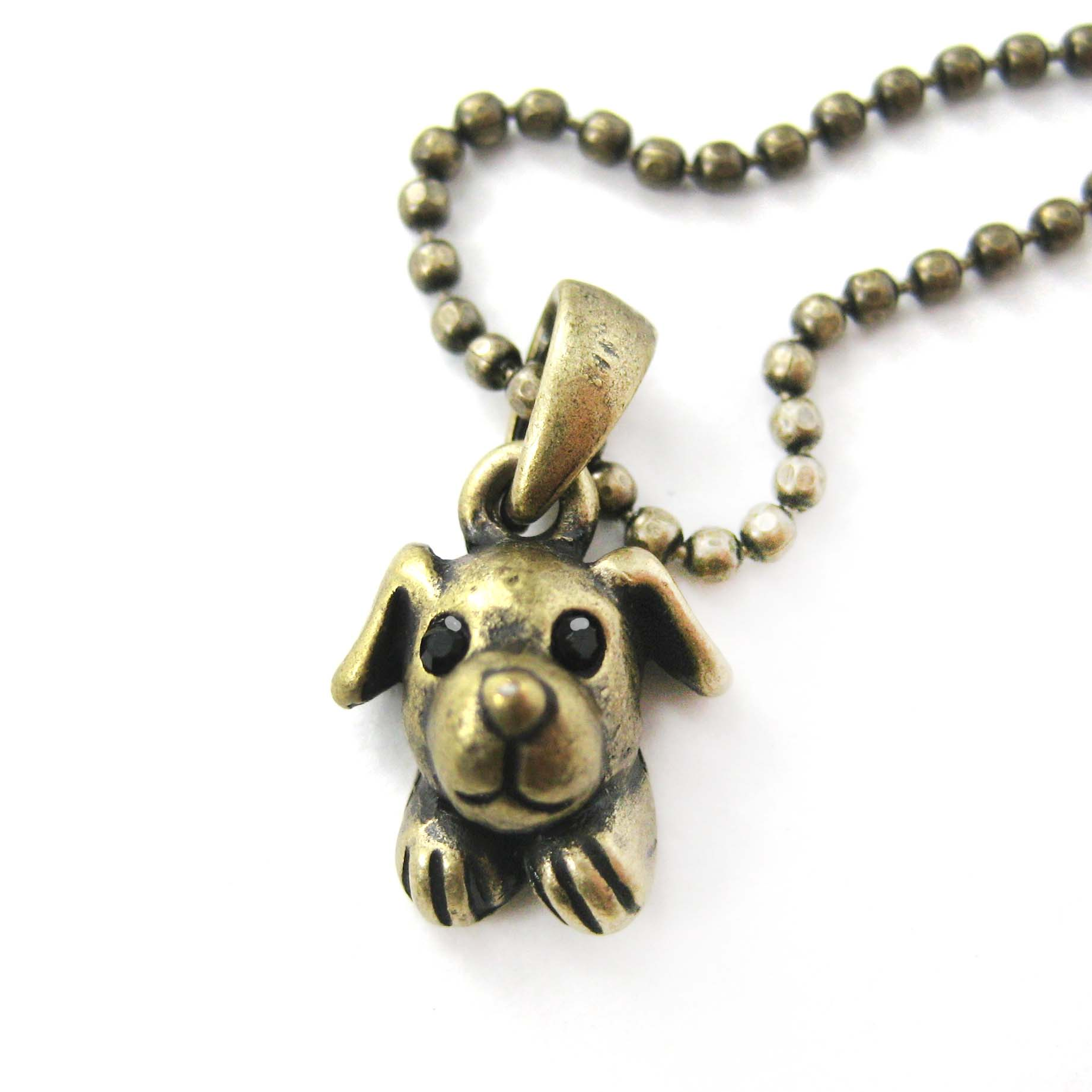adorable puppy animal charm pendant necklace in bronze