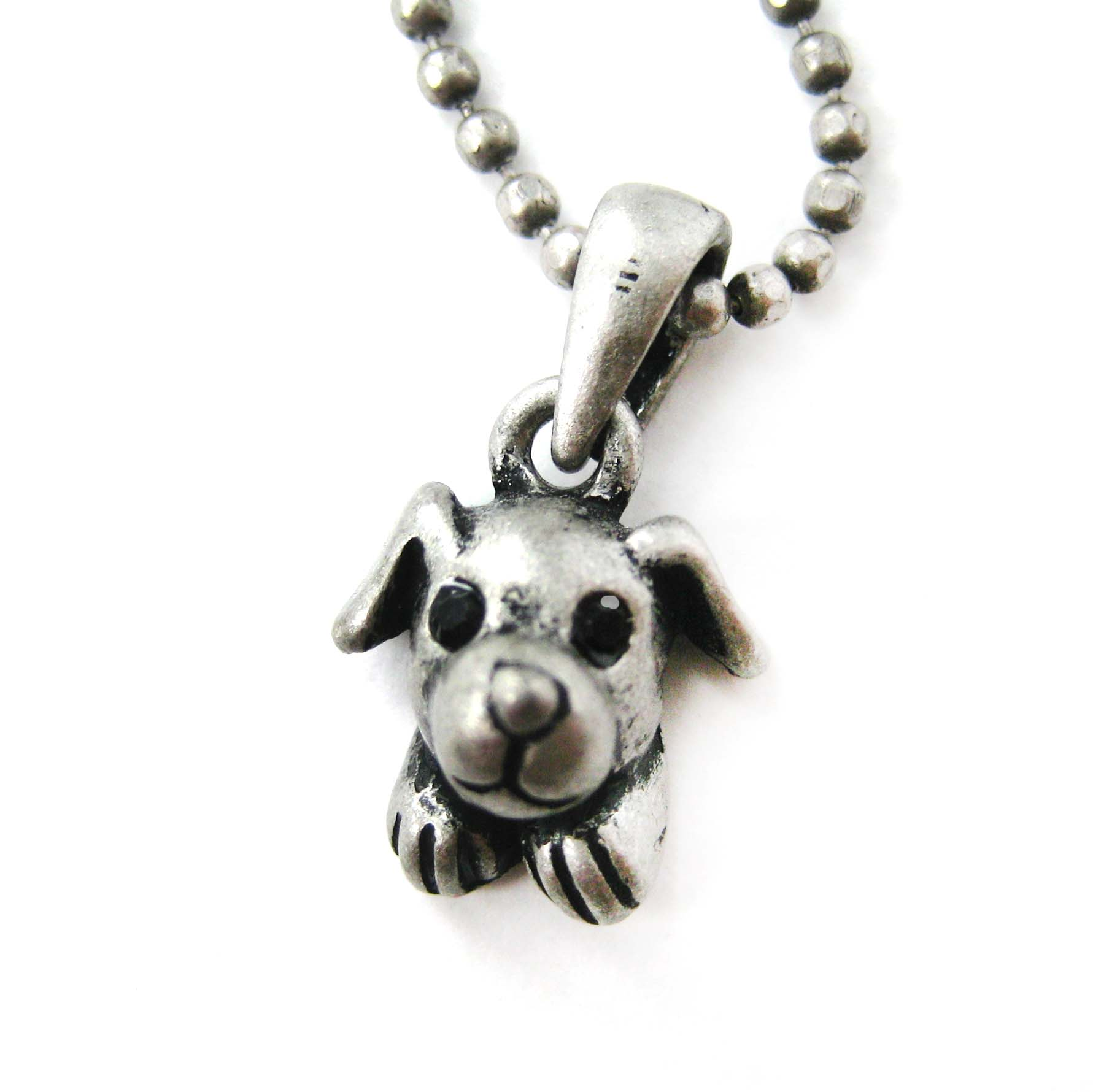 adorable puppy animal charm pendant necklace in silver