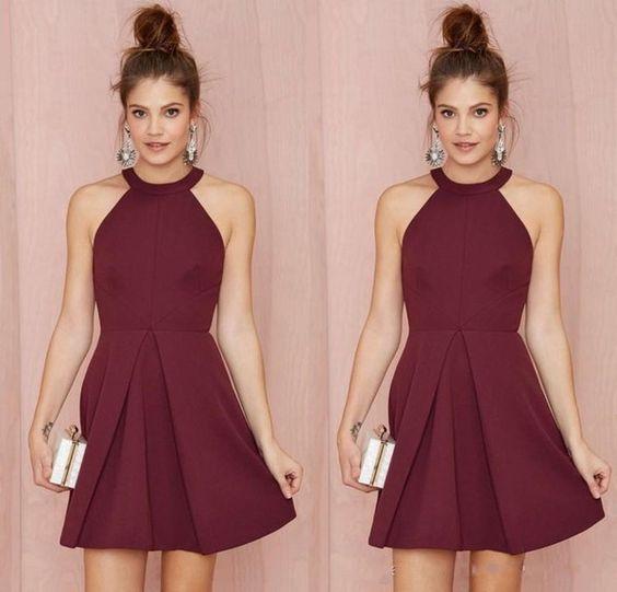 Cheap Short Bridesmaid Dresseshomecoming Dresses Burgundy Halter