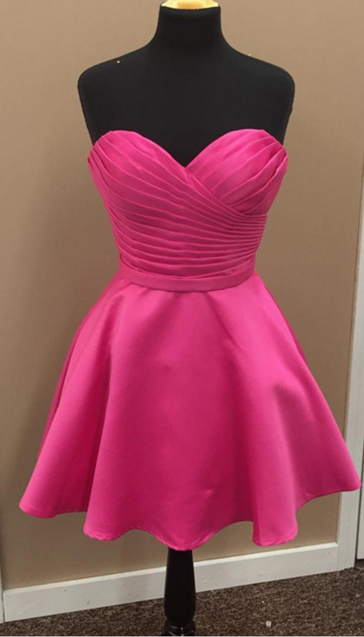 Charming Prom Dress,Cute Prom Gown,Pleated Mini Prom Party Dress ...