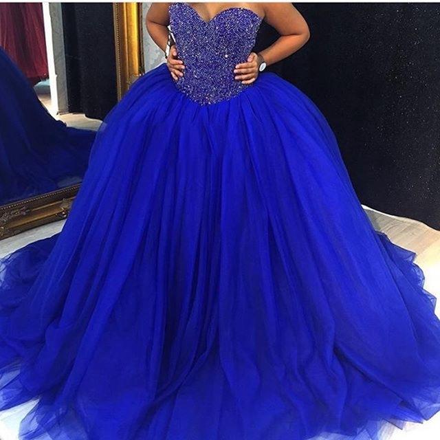 Elegant Royal Blue Prom Dress,Sleeveless Crystal Beading Puffy Ball ...