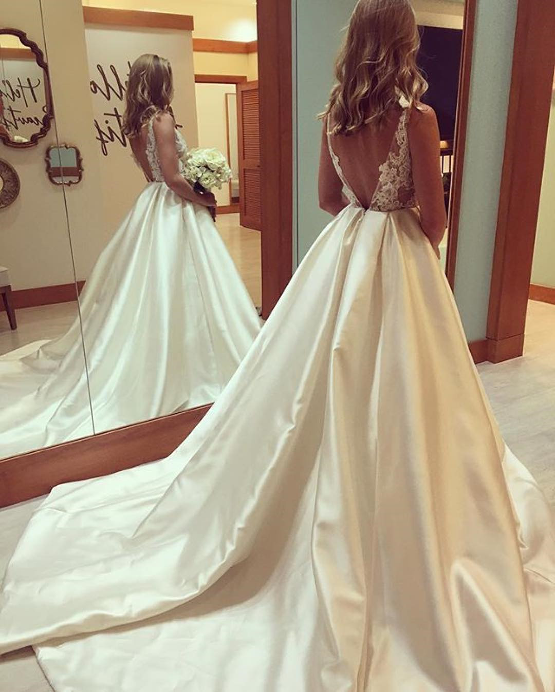 elegant lace appliques open back satin ball gowns wedding dresses ...