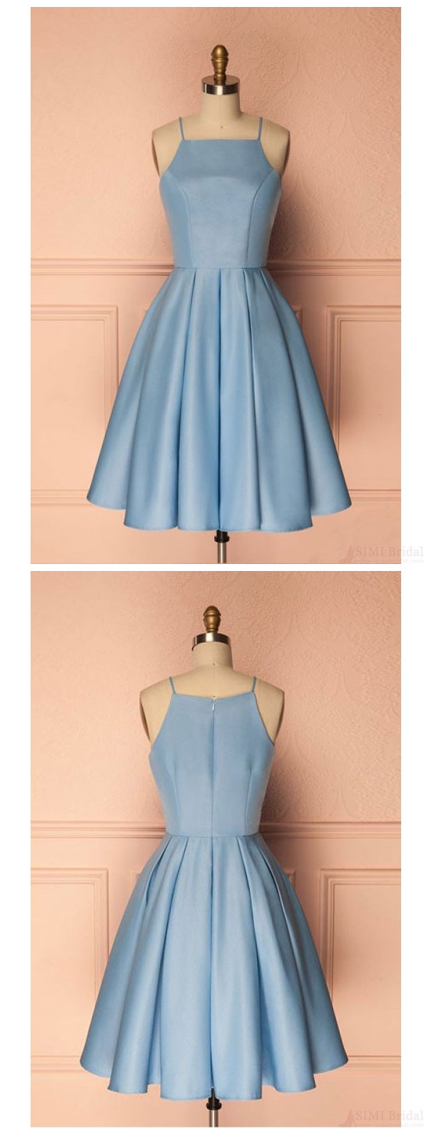 A Line Sky Blue Spaghetti Straps Homecoming Dresses Party Dresses ...