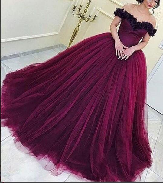 Ball Gown Burgundy Prom Dress Evening Dresses Tulle Long Prom ...