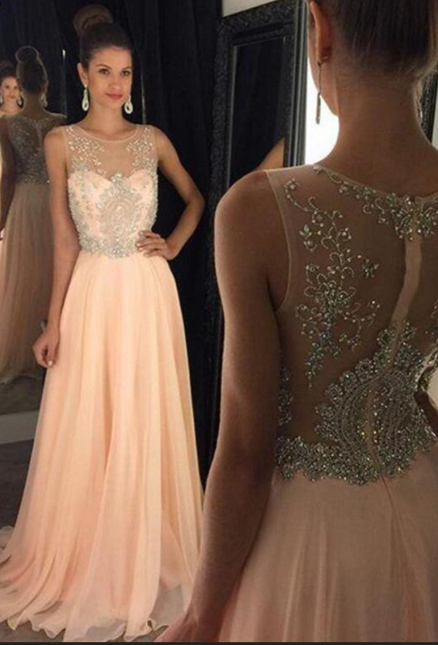 pink evening dresses backless prom dresses Chiffon and Beads Prom ...