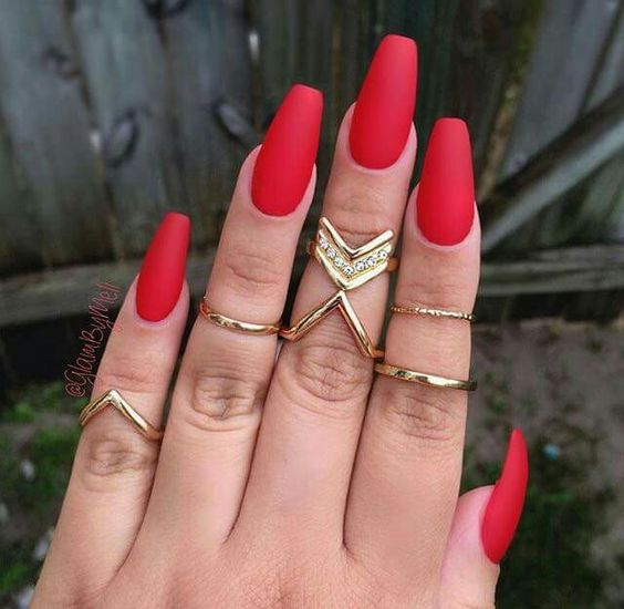 Matte Red Nails Solid ...