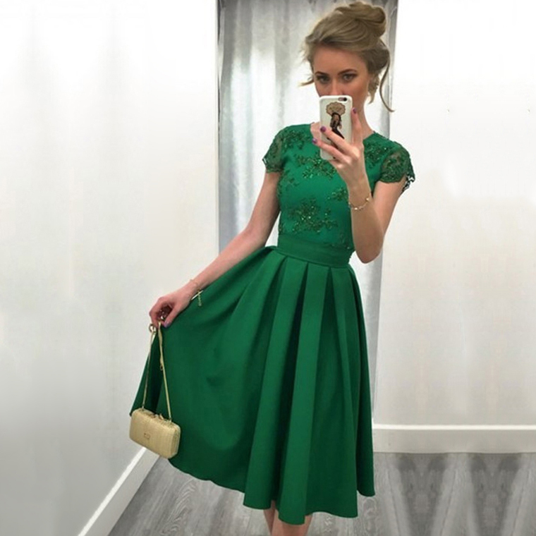 Green Homecoming Dresses, A-line Scoop Neck Short Prom Dresses, Knee ...