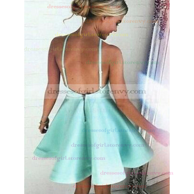 Short Homecoming Dresses, Cheap A-line Halter Backless Prom Dresses ...