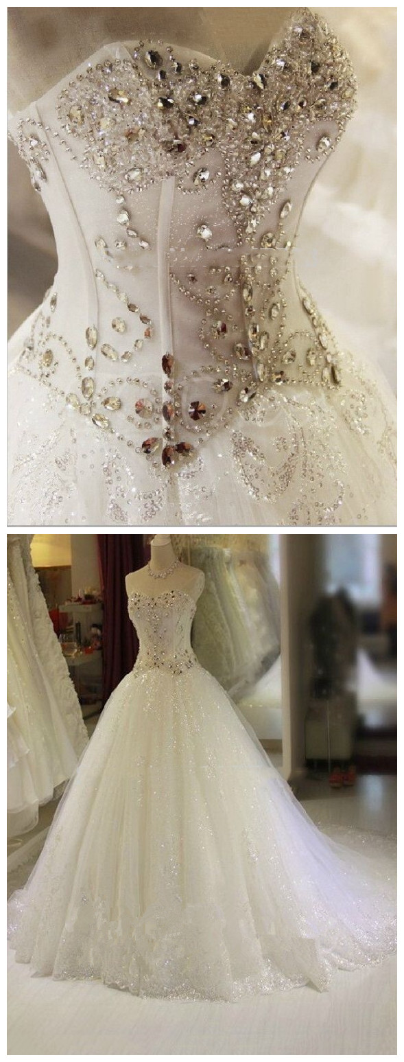 A-Line Sequined Tulle Beading Crystal Wedding Gown Appliques Mermaid ...