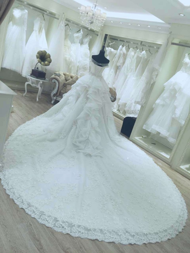 new Ball Gown Princess Plus Size Wedding Dress 2016 Bride Gown Ivory ...