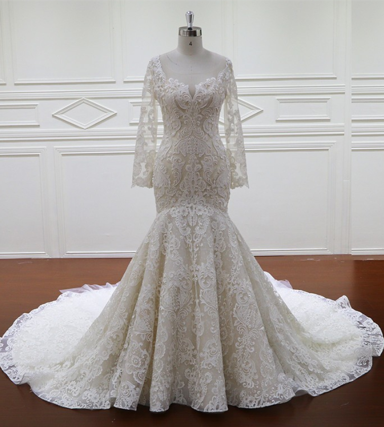 mermaid wedding dress Long-Sleeves Unique Appliques Ball-Gown ...