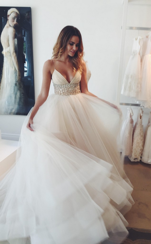 Glamorous Spaghetti Straps Tulle Wedding Dresses Princess With ...