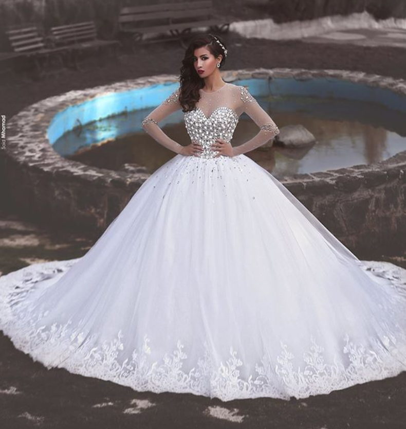 Newest Crystals Tulle Lace Illusion Wedding Dress Long