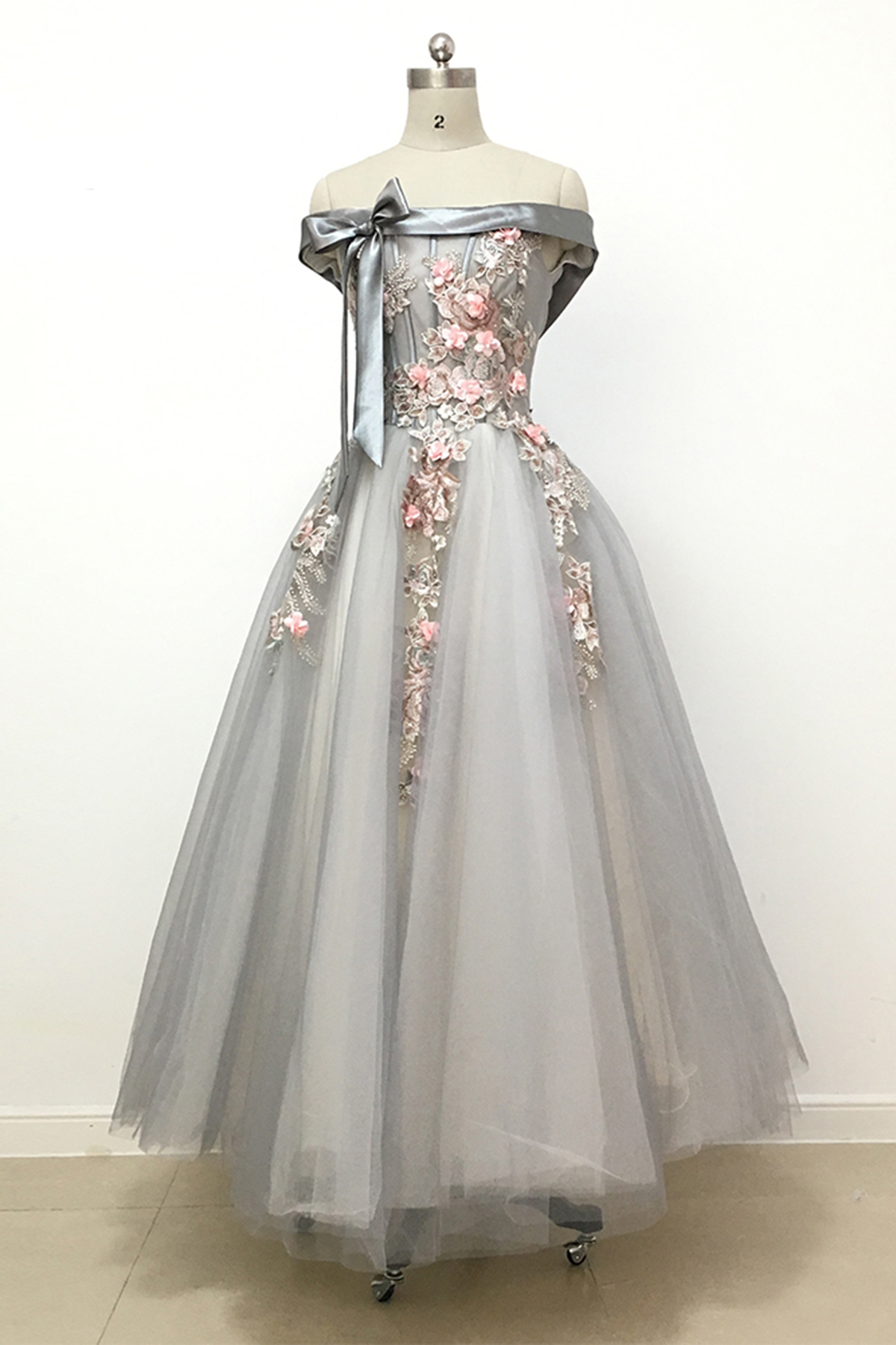 Light grey tulle off shoulder flower lace long prom dress, bowknot A ...