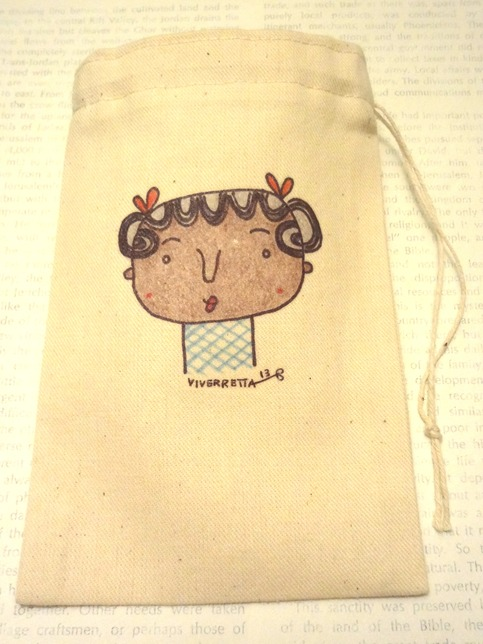 "All-Purpose Drawstring Bag 4"" x 6""- Blue X Hatch Girl"